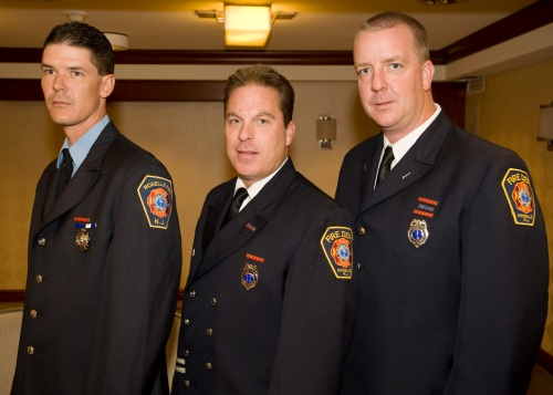 Members of the Roselle Fire Department, from left, Firefighter Robert Palmer, Captain Patrick T. Kelleher and Lt. Brian Carne were presented with the prestigious Valor Award at the 21st Annual Saint Barnabas Burn Foundation Valor Awards.