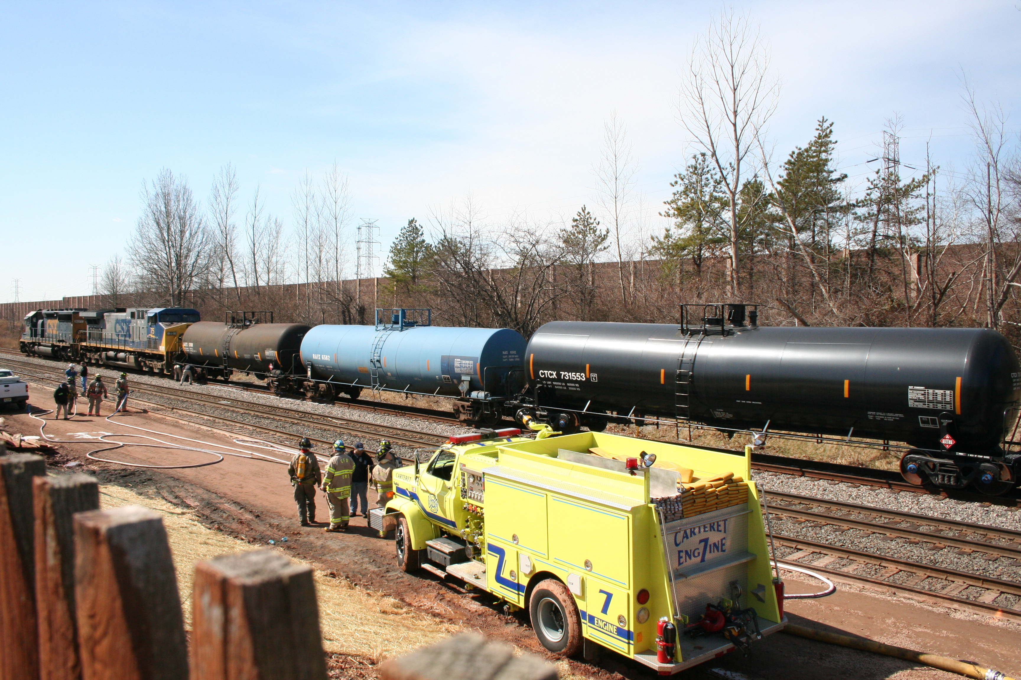 Officials Work To Clear Leaking Rail Car In Carteret
