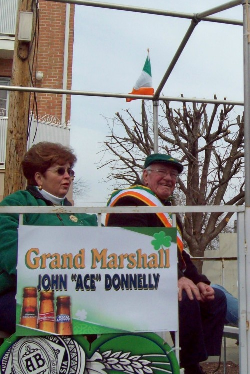 South Amboy St. Patrick's Day Parade Grand Marshal John Donnelly rides the parade route on the March 14. Photo by Diane Norek Harrison
