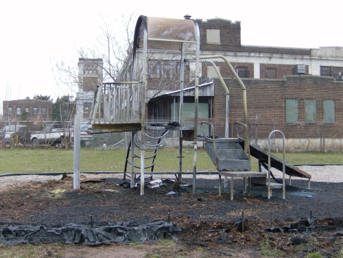 Police are investigating the fire that destroyed $25,000 worth of playground equipment Monday night.